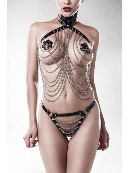 Set 3 pezzi con imbracatura e catenine Grey Velvet in vendita su Tangamania Online