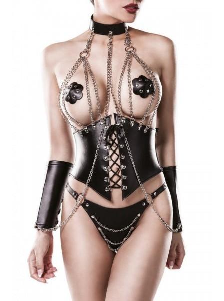 Set 4 pezzi con catene e stringivita Grey Velvet in vendita su Tangamania Online