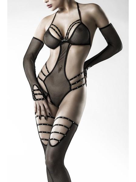 Set con body e calze autoreggenti in microrete Grey Velvet in vendita su Tangamania Online