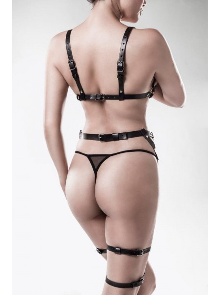 Set con reggiseno e reggicalze a imbracatura Grey Velvet in vendita su Tangamania Online