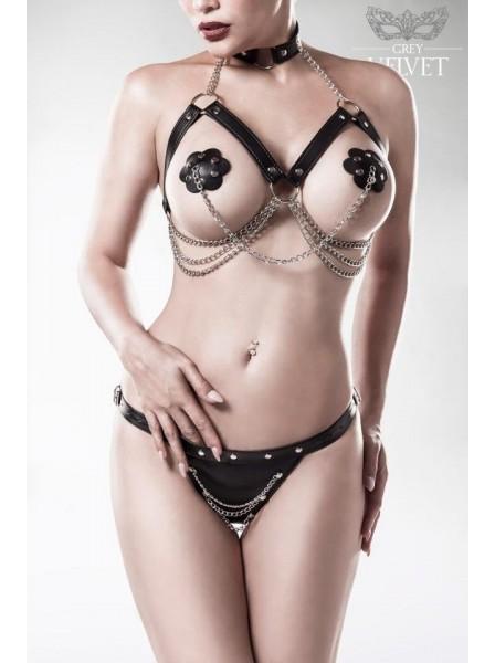 Set tre pezzi con catene e borchie Grey Velvet in vendita su Tangamania Online