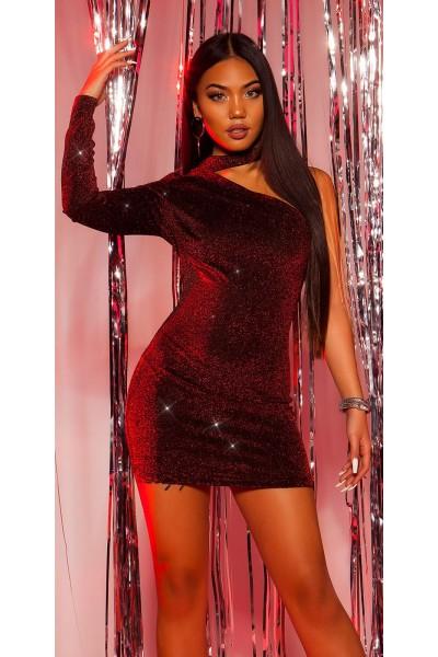 Sexy Mini abito monospalla in tessuto glitterato in tre colori ALTRI BRAND in vendita su Tangamania Online