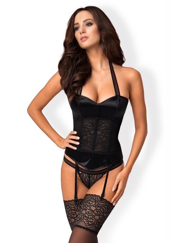 Ailay corsetto in raso lucido con perizoma Obsessive Lingerie in vendita su Tangamania Online