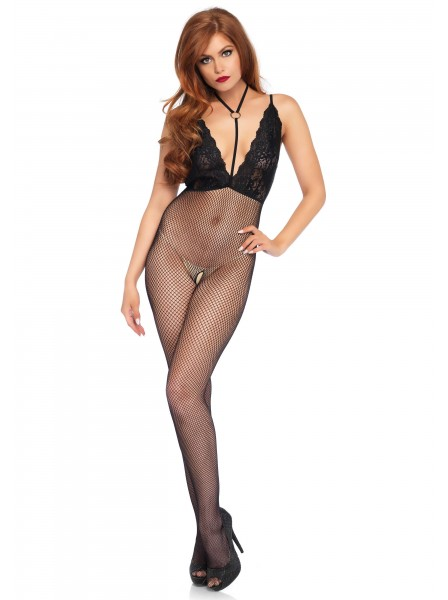 Bodystocking in microrete aperta con inserti in pizzo Leg Avenue in vendita su Tangamania Online
