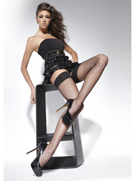 Lucrezia calze autoreggenti a rete piccola in tre colori BasBleu in vendita su Tangamania Online