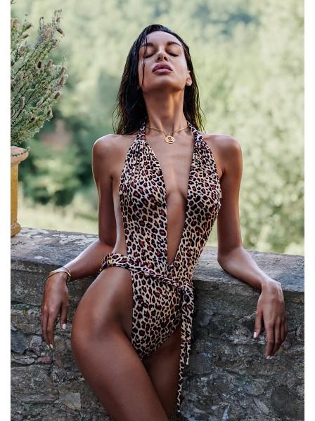 Sexy costume intero leopardato Cancunella Obsessive beachwear in vendita su Tangamania Online