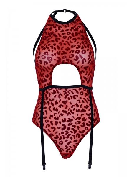 Body reggicalze leopardato rosso Leg Avenue in vendita su Tangamania Online