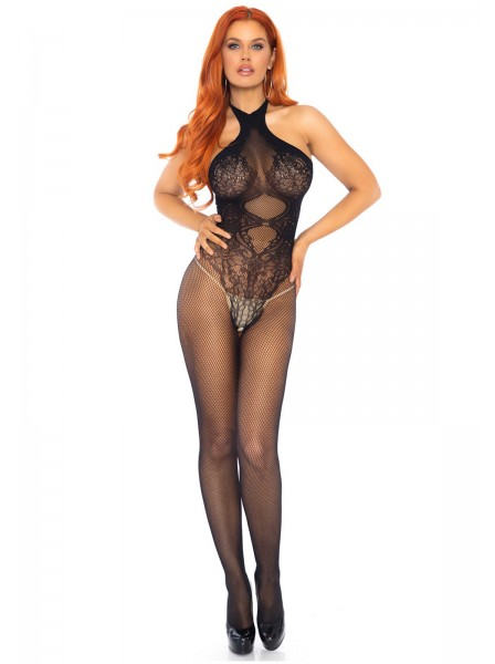 Bodystocking con collo alto e schiena nuda in due colori Leg Avenue in vendita su Tangamania Online