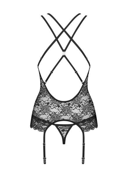 860 corsetto e perizoma in pizzo nero Obsessive Lingerie in vendita su Tangamania Online