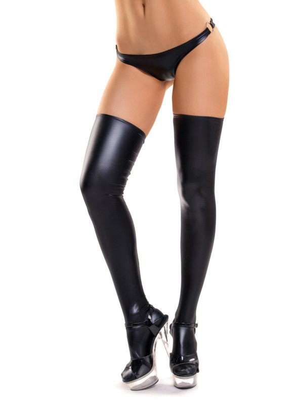 Sexy calze autoreggenti in tessuto wetlook  in vendita su Tangamania Online