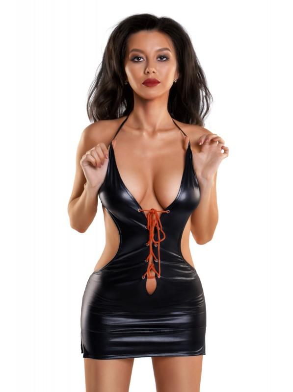 Abitino wetlook con sexy allacciatura rossa  in vendita su Tangamania Online