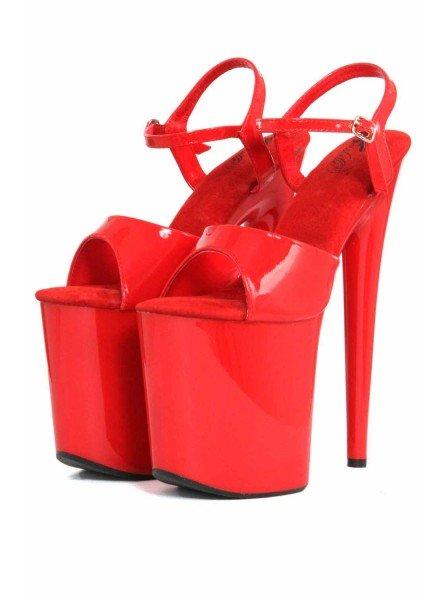 Sandali rossi in vernice con tacco da 19,5 cm ALTRI BRAND in vendita su Tangamania Online