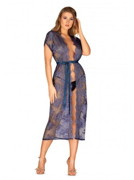 Flowlace vestaglia e perizoma in pizzo blu Obsessive Lingerie in vendita su Tangamania Online