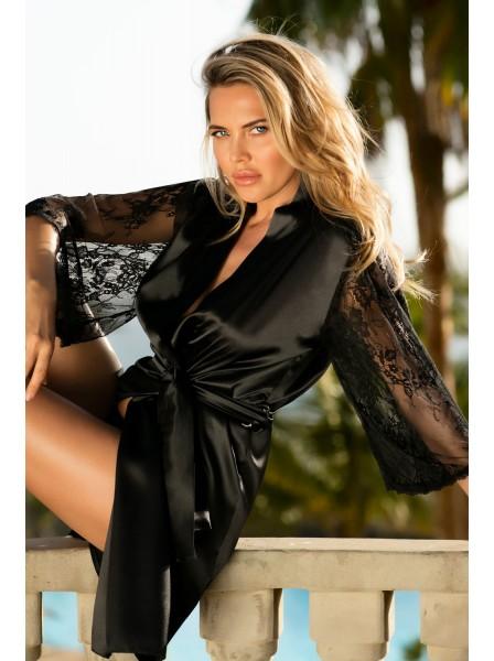 Elizabeth Elegante vestaglia in raso rifinita in pizzo DKaren in vendita su Tangamania Online