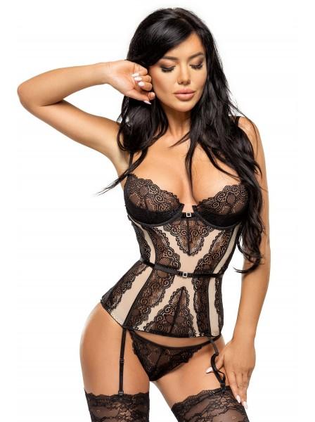 Ravenna sexy corsetto nero/beige con perizoma BeautyNight in vendita su Tangamania Online