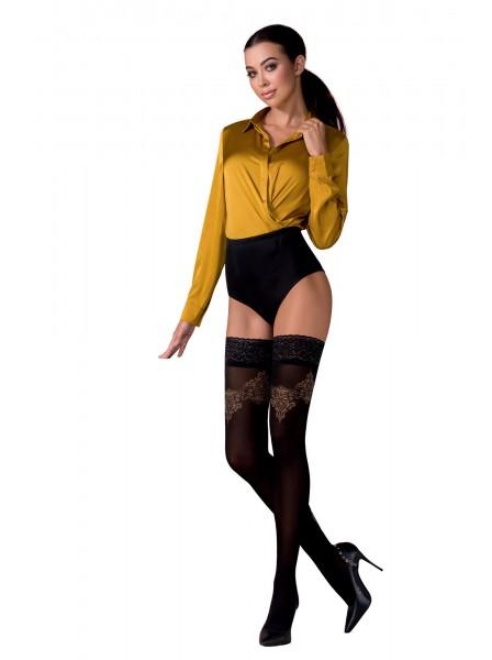 Calze autoreggenti con sexy decorazione in due colori Passion in vendita su Tangamania Online