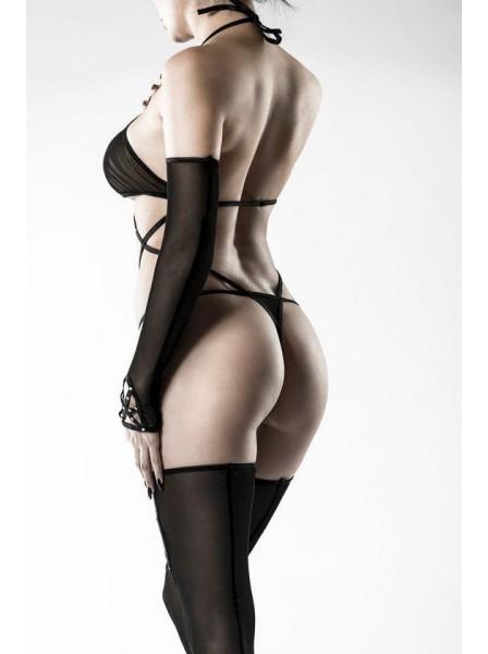 Body con calze autoreggenti e guanti lunghi Grey Velvet in vendita su Tangamania Online