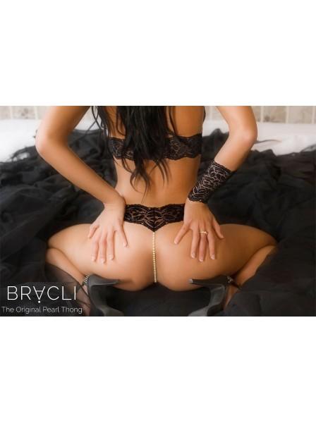 Pearl thongs classic black Bracli in vendita su Tangamania Online