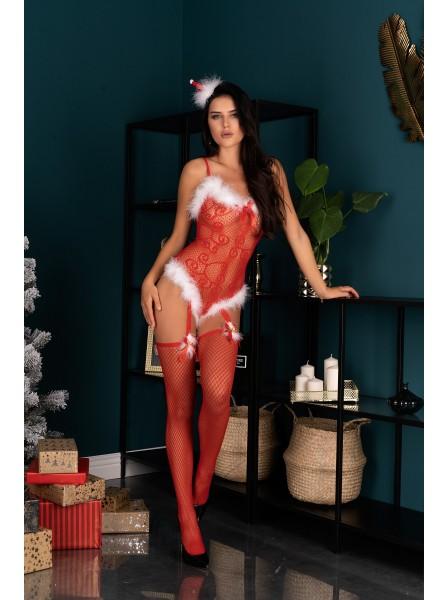 Sexy Bodystocking natalizia con marabou Livia Corsetti in vendita su Tangamania Online