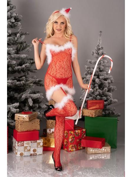 Sexy bodystocking natalizia con marabou Catriona Livia Corsetti in vendita su Tangamania Online