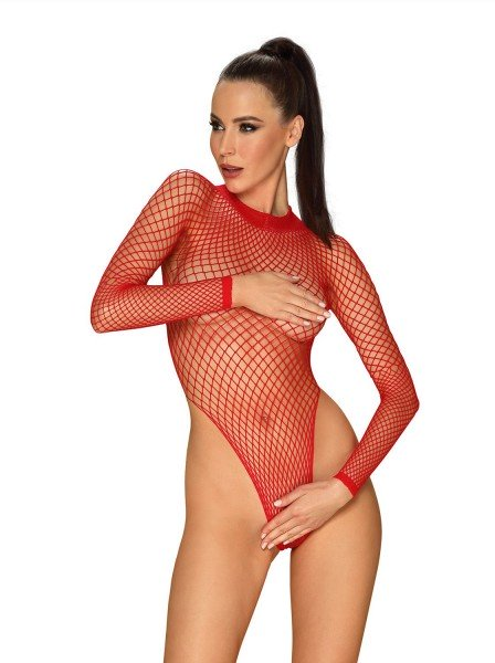 B126 body in rete rossa a maniche lunghe Obsessive Lingerie in vendita su Tangamania Online