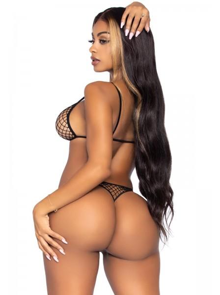 Sexy completo in rete nero e rosso Leg Avenue in vendita su Tangamania Online