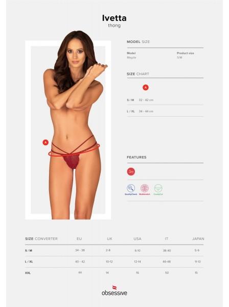 Sexy perizoma rosso in pizzo con due stringhe Ivetta Obsessive Lingerie in vendita su Tangamania Online