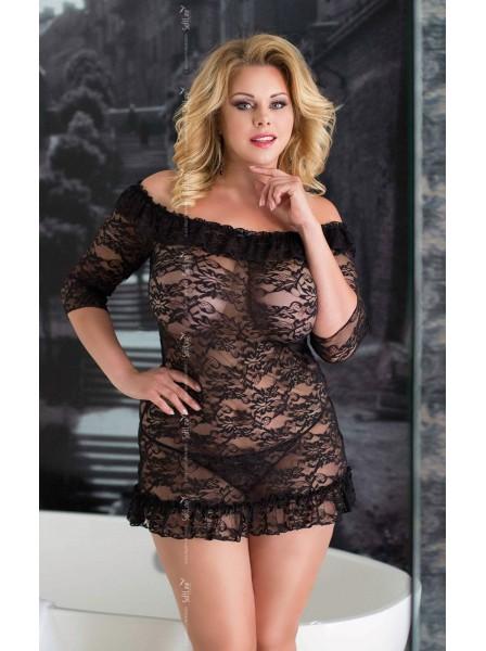 Cloe chemise e perizoma PLUS SIZE in pizzo nero Softline in vendita su Tangamania Online