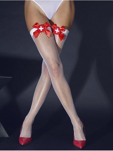 Calze da infermiera sexy in rete bianca con fiocco rosso e croce LeFrivole in vendita su Tangamania Online