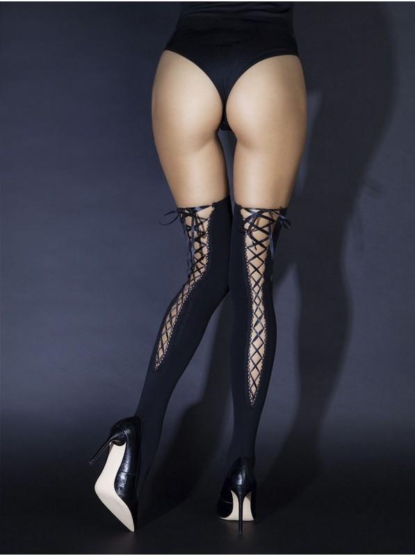 Calze con intrigante allacciatura posteriore in raso LeFrivole in vendita su Tangamania Online