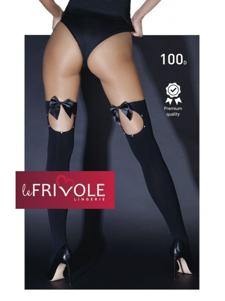 Sexy calze nere stretch con apertura posteriore decorata da strass e fiocco LeFrivole in vendita su Tangamania Online