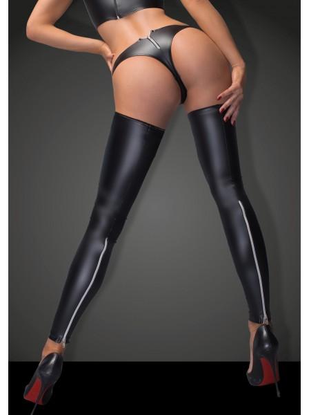 Set con calze e mutandine wetlook con zip Noir Handmade in vendita su Tangamania Online
