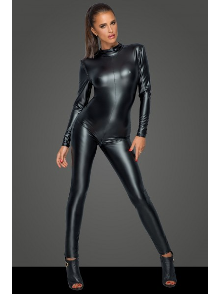 Provocante tuta intera in tessuto wetlook con scollatura posteriore Noir Handmade in vendita su Tangamania Online