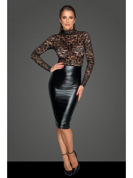 Sensuale ed elegante abito in pizzo e tessuto wetlook Noir Handmade in vendita su Tangamania Online