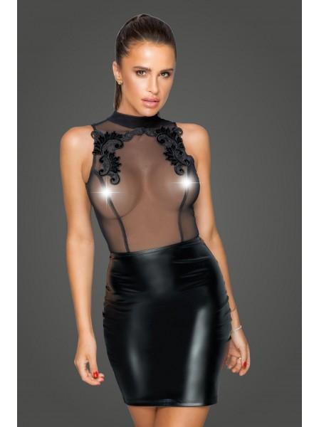 Elegante abito smanicato in tulle e wetlook Noir Handmade in vendita su Tangamania Online