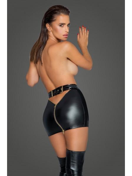 Sexy minigonna in tessuto wetlook con doppia zip Noir Handmade in vendita su Tangamania Online