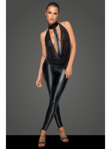 Sensuale tuta intera in tessuto wetlook con top in tulle Noir Handmade in vendita su Tangamania Online