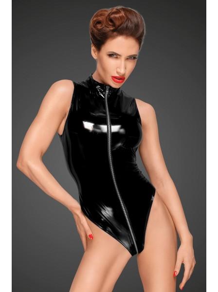 Sexy body smanicato in pvc con zip multidirezionale Noir Handmade in vendita su Tangamania Online