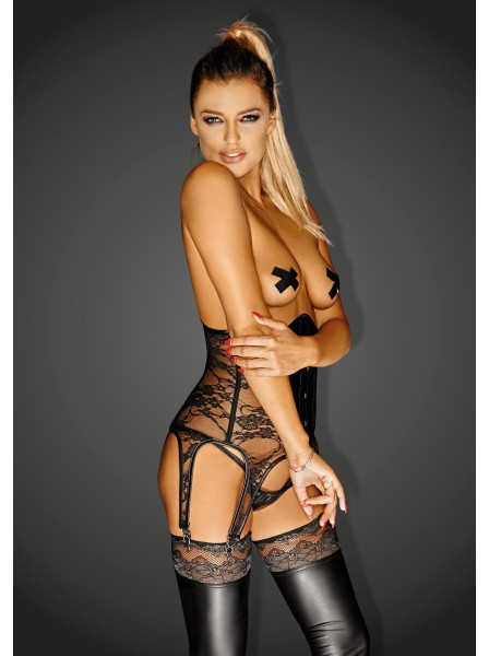 Sexy corsetto stringivita in ecopelle e pizzo Noir Handmade in vendita su Tangamania Online