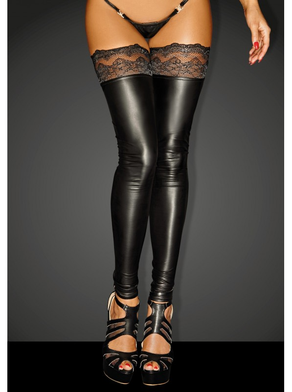 Sexy calze wetlook con balza autoreggente in pizzo Noir Handmade in vendita su Tangamania Online