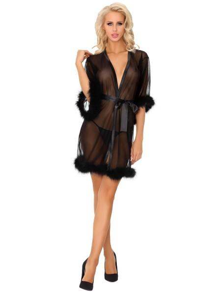 Emigdiani sexy vestaglia in tulle nero e marabou CoFashion in vendita su Tangamania Online