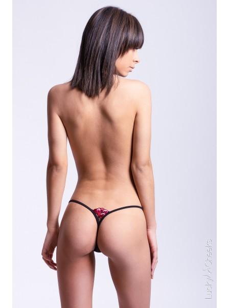 Red Flower sexy splendido mini perizoma con Swarovski Lucky Cheeks in vendita su Tangamania Online