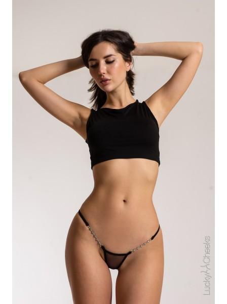 Transparent Black lussuoso micro V-String impreziosito da Swarovski Lucky Cheeks in vendita su Tangamania Online
