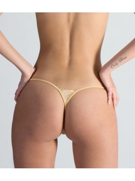 Gold Fever lussuoso mini perizoma con cristalli Swarovski Lucky Cheeks in vendita su Tangamania Online