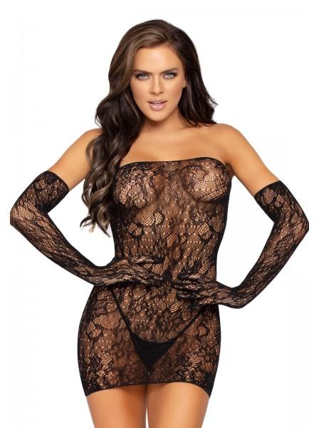 Sexy abitino nero in pizzo con guanti Leg Avenue in vendita su Tangamania Online