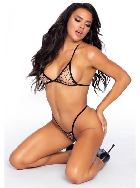 Sexy ed essenziale completino intimo a rete con punti luce Leg Avenue in vendita su Tangamania Online