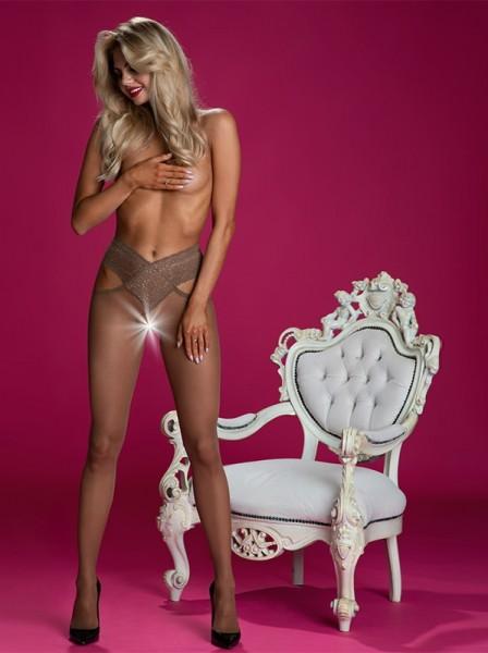 Sensuali Collant aperti 30 denari in nero e beige Angel Amour Sexy Collant in vendita su Tangamania Online
