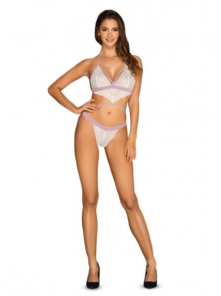 Sensuale Body in pizzo bianco-lilla collezione Lilyanne Obsessive Lingerie in vendita su Tangamania Online