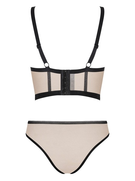 Elegante top e mutandine color nudo-nero collezione Nudelia Obsessive Lingerie in vendita su Tangamania Online