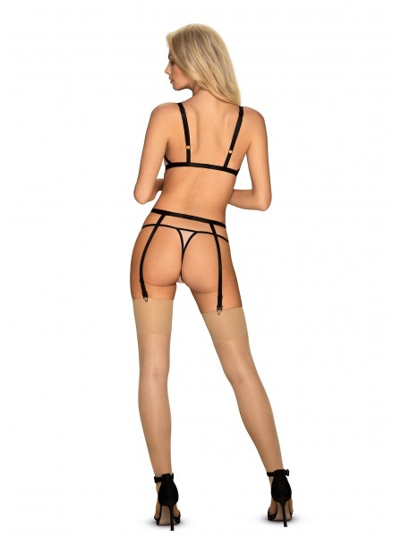 Elegante completino con reggicalze nudo-nero collezione Nudelia Obsessive Lingerie in vendita su Tangamania Online